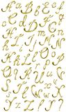 Vector Gold Alphabet. Vector volume shiny gold isolated alphabet ,all letters and punctuation marks Royalty Free Stock Photo