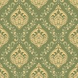 Vector volumetric damask seamless pattern background. Elegant luxury embossed texture for wallpapers, backgrounds and stock illustration