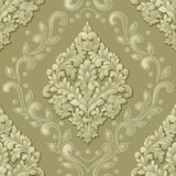 Vector volumetric damask seamless pattern element. Elegant luxury embossed texture for wallpapers, backgrounds and page Royalty Free Stock Photo
