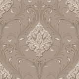 Vector volumetric damask seamless pattern element. Elegant luxury embossed texture for wallpapers, backgrounds and page Stock Photo