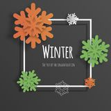 Vector volumetric snowflakes 3d, paper cut. Background for postcards, sites, wallpapers, posters, posters. Vector volumetric snowflakes 3d, paper cut. Background royalty free illustration