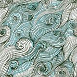 Vector von Hand gezeichnetes Muster der nahtlosen Welle, Wellenhintergrund (seaml Lizenzfreie Stockfotografie