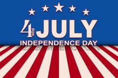Vector 4. von Juli-Hintergrund mit Sternenbanner Schablone für USA-Unabhängigkeitstag Stockfoto