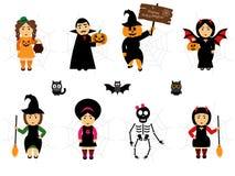 Vector voor Halloween in beeldverhaalstijl die wordt geplaatst Mensen in vakantiekostuums Gemakkelijk om een illustratie van Hall Stock Fotografie