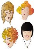 Vector voorraadillustratie De charmante gezichten van de meisjes Stock Afbeeldingen