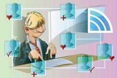Vector voorraadillustratie Grappige mens bij de computer Communicatienetwerk Royalty-vrije Stock Afbeelding