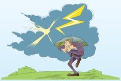 Vector voorraadillustratie Het grappige bang gemaakte mens verbergen onder een paraplu Stock Afbeelding
