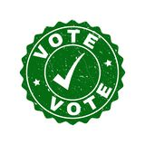 Vote Scratched Stamp with Tick stock illustration