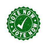 Vote Now Scratched Stamp with Tick vector illustration