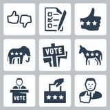 Vector voting and politics icons. Set royalty free illustration