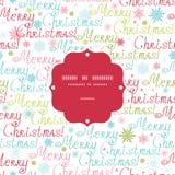 Vector vrolijk het kader naadloos patroon van de Kerstmistekst Stock Afbeeldingen