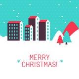 Vector vrolijke de groetkaart van Kerstmis Royalty-vrije Stock Fotografie