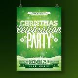 Vector Vrolijke de Vliegerillustratie van de Kerstmispartij met Typografie en Vakantieelementen op Groene achtergrond De winter vector illustratie
