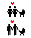 Vector vrolijke familie met kinderenpictogrammen over wit vector illustratie