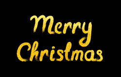 Vector Vrolijke Kerstkaart met het gouden van letters voorzien Stock Afbeelding