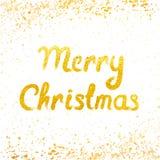 Vector Vrolijke Kerstkaart met het gouden van letters voorzien en sneeuwval Royalty-vrije Stock Foto
