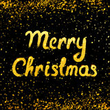 Vector Vrolijke Kerstkaart met het gouden van letters voorzien en sneeuwval Royalty-vrije Stock Foto's