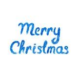 Vector Vrolijke Kerstkaart met waterverf het van letters voorzien Stock Afbeeldingen