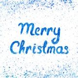 Vector Vrolijke Kerstkaart met waterverf het van letters voorzien en sneeuwval Stock Foto's