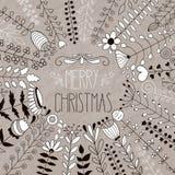 Vector Vrolijke Kerstmis Bloemengroet Stock Afbeeldingen
