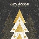 Vector Vrolijke Kerstmis en Gelukkig Nieuwjaarontwerp Vierkante kaart met Kerstbomen in zwarte, gouden en witte kleuren Stock Foto's