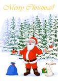 Vector Vrolijke Kerstmis van de Illustratieprentbriefkaar van heel Santa Claus in het de winterbos stock illustratie
