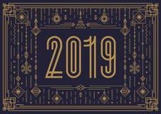 Vector Vrolijke Kerstmisbanner met teken 2019 royalty-vrije illustratie