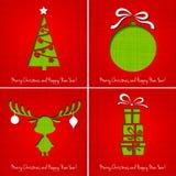 Vector Vrolijke Kerstmisdocument groetkaart Stock Afbeelding