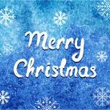 Vector vrolijke Kerstmiskaart De achtergrond van de de winterwaterverf met sneeuwvlokken Abstract gemakkelijk modern malplaatje Stock Foto's