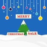 Vector vrolijke Kerstmisverkoop, het concept van de het seizoenhandel van de de wintersneeuw stock illustratie