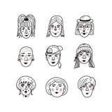 Vector vrouwelijke gezichten, Krabbelportretten van meisjes Grappige avatars van vrouwen, Kleurend boek Inzameling van hand-drawn stock illustratie