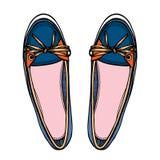 Vector vrouwelijke schoenen over wit royalty-vrije illustratie