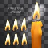 Vector Wachskerzenflammenanimation auf transparentem Hintergrund Lichteffekt des Feuers Lizenzfreie Stockfotografie