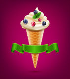 Vector wafer cone with cream (ice cream) with berries and mint. The vector wafer cone with cream (ice cream) with berries and mint vector illustration