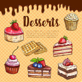 Vector waffle poster with dessert cake pies Stock Photo