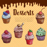 Vector waffle poster with dessert cupcakes. Cupcake desserts vector waffle poster. Pastry sweet muffin biscuits, chocolate brownie muffins with cherry and cream Royalty Free Stock Images