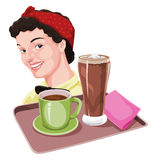Vector of waitress holding coffee and milkshake on tray. Royalty Free Stock Images