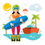 Vector Wakeboarding Woman. Flat style colorful Cartoon illustration. Girl with wakeboard. Isolated on white background Royalty Free Stock Image