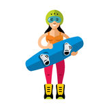 Vector Wakeboarding Woman. Flat style colorful Cartoon illustration. Royalty Free Stock Images