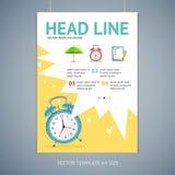 Vector wakeup clock brochure flyer design Royalty Free Stock Photo