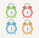 Vector wakeup clocks set. Flat Design Stock Images