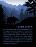 Vector Waldhintergrundschablone mit Bergen und Tieren Stockbild