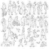 Vector walking urban crowd on street in city. Children and adults in various situations. Woman with kids people with vector illustration