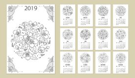Free Vector Wall Calendar For 2019 Year With Outline Round Flower Bouquet In Black. Cover With Ornate Jasmine Flower Bunch. Stock Images - 124096984