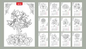 Vector wall calendar set for 2018 year with outline flowers and leaves in black. Cover with ornate Columbine flower. Week starts from Monday, English. Floral Royalty Free Stock Photos