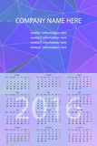 Vector Wall Calendar 2016. Vector Template with Abstract Background. Week Starts Monday Stock Photos