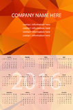 Vector Wall Calendar 2016. Vector Template with Abstract Backgro. Und. Week Starts Sunday Stock Images