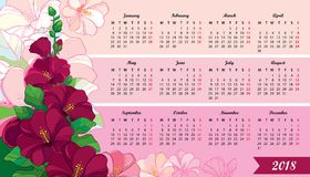 Vector wall calendar for 2018 year with outline Hollyhock flower and leaves in pastel pink. Week starts from Monday, English. Floral design in contour style Royalty Free Stock Image