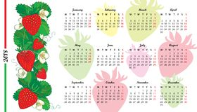 Vector wall calendar for 2018 year with outline red Strawberry, flower and green leaves isolated on white background. Week starts from Monday, English Stock Photo