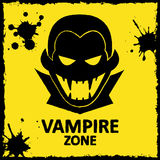 Vector wall graffiti. Vampire zone. Yellow color Stock Photo